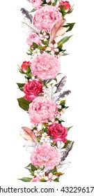 Floral border with pink peony flowers, cherry blossom (sakura) and bird feathers. Vintage seamless stripe in boho style. Watercolor
