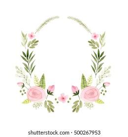 floral border watercolor illustration