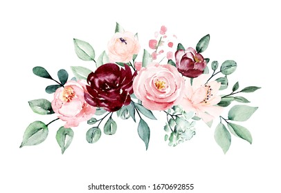 Floral border of watercolor spring flowers pink roses, blossom Illustration hand painted. Isolated on white background. Perfectly for greeting card design.