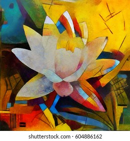 Floral bouquet abstraction. In the modern version of the style of Kandinsky. Executed in oil on canvas with elements of pastel painting.