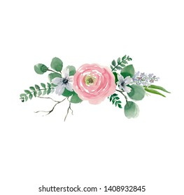 floral bouquet design: garden pink Rose flower, anemone Eucalyptus branch greenery leaves.