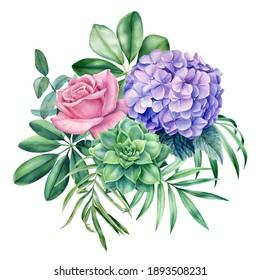 Floral bouquet. Leaves of tropical plants on white background, watercolor botanical illustration. Jungle design