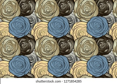 Floral card design. Watercolor brown, beige and blue roses seamless pattern. Hand painted sketch with abstract rose flowers in brown, beige and blue colors.