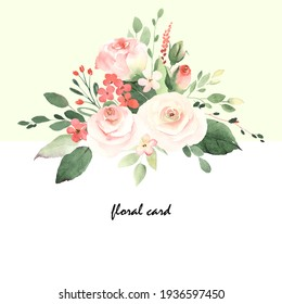 Floral card with roses, small abstract flowers, green leaves and branches in vintage style. Holiday template for your text, watercolor illustration on light green and white background.