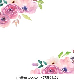 Floral card. Watercolor template for wedding invitations, posters, valentines day, easter, birthday