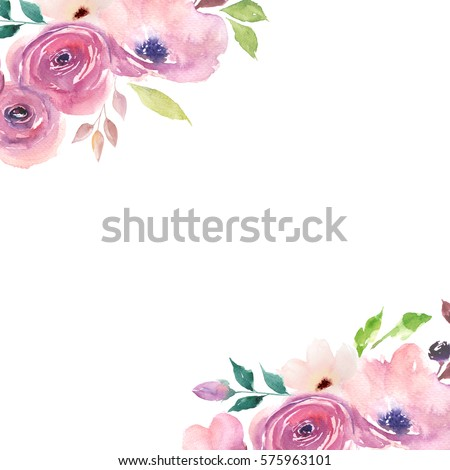 floral card watercolor template wedding invitationsのイラスト素材