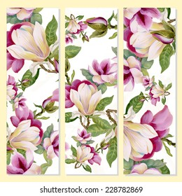 Floral cards on yellow background