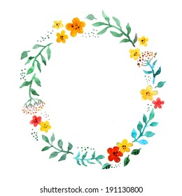 Floral circle wreath with cute flowers. Watercolor hand painted border for greeting card