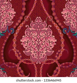Floral classic damask backdrop in red and pink. Jacquard woven pattern with frame flowers and chamomile pattern, backdrop mosaic texture
