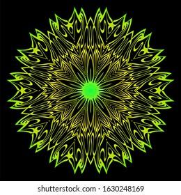 Floral Color Mandala. Arabic, Indian, Motifs.  Illustration. Black, green color.