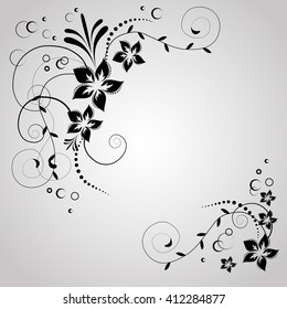 Floral corner ornamental pattern with flowers. Black flowers on white background. Flowery invitation card. Background with floral elements. Raster copy.