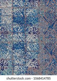 floral and damask  patchwork grunge design