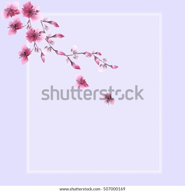 Floral decoration. Birthday card. Blossoming branch with pink flowers on a violet background. Watercolor