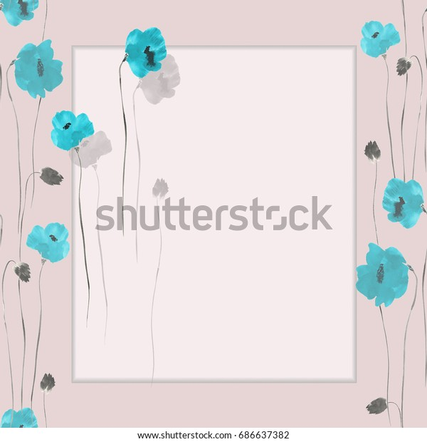 Floral decoration. Birthday card. Blossoming blue and gray flowers on a pink background. Watercolor -1