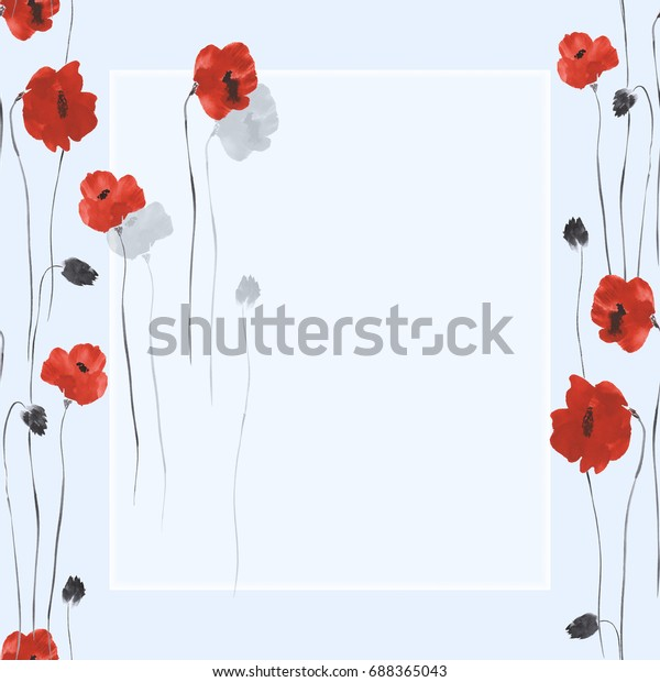 Floral decoration. Birthday card. Blossoming red flowers of poppies on a blue background. Watercolor -1