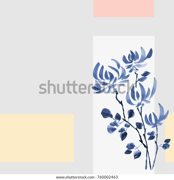 Floral decoration. Birthday card.  Blossoming branch of wild blue flowers of chrysanthemum on a gray and yellow background. Watercolor