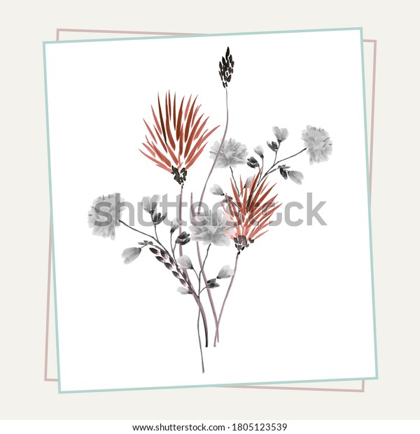 Floral decoration. Birthday card. Watercolor blossoming summer orange and gray flowers in a beige frame on a white background