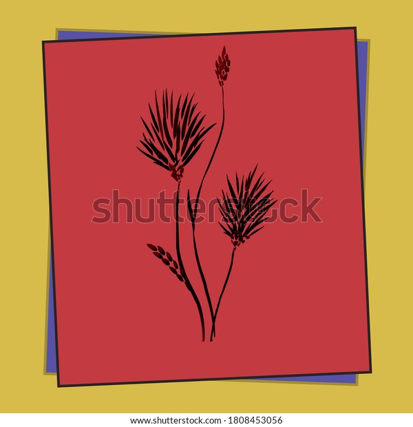 Floral decoration. Birthday card. Watercolor blossoming summer dark flowers in a orange frame on a red background
