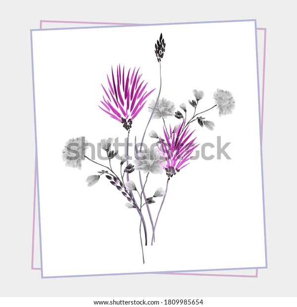 Floral decoration. Birthday card. Watercolor blossoming spring pink and gray flowers in gray frame on a white background