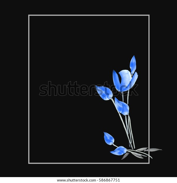 Floral decoration. Birthday card. Watercolor blossoming spring blue tulips on the black background