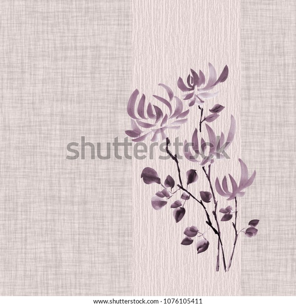 Floral decorationof violet flowers of chrysanthemum on a light violet linen  background. Seamless pattern. Watercolor