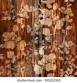 Floral decorative pattern - Interior wall decoration - wood texture - Seamless background - Fine natural structure - Continuous replication - Decorative wrapping paper