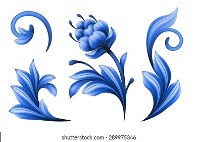 floral design elements isolated on white background, abstract gzhel folk flowers