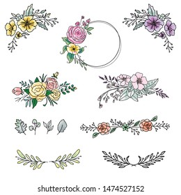 Floral design elements and wedding event bouquet illustration