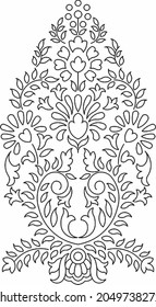Floral Design , Embroidery Pattern. Black And White , And Stock Illustration Hand Drawn. Fantasy Flowers Leaves. T-shirt Designs. Royalty Free Cliparts, illustration