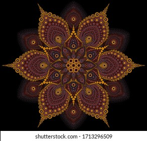 Floral dot mandala in brown colors on a black background