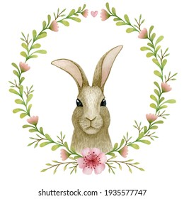 Floral Easter wreath. Watercolor spring hand painted illustration. Easter Bunny. Spring flowers. Hand drawn holiday background.