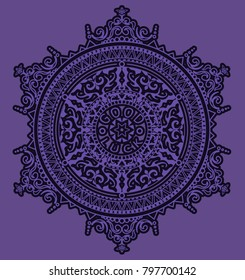 Floral elements silhouettes. Circular pattern of traditional motifs and vintage oriental ornaments. Ultra violet color