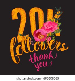 Floral embroidery design. Thank you 20K followers card. Thanks design template for network friends and followers. Twenty thousand followers