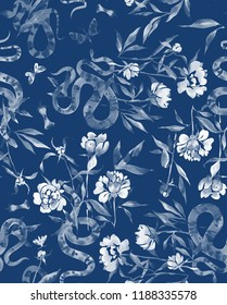 Floral and fauna illustration. Watercolor peonies,snakes and batterflies isolated on blue. Ornament for Fabric, textile. t-shirt and clothes.