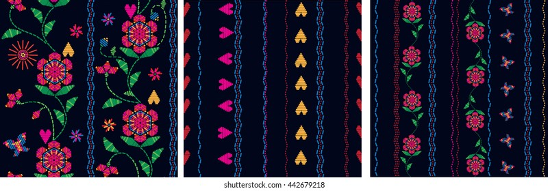Floral folk seamless pattern ornaments. Flourish traditional embroidery. Ethnic texture design