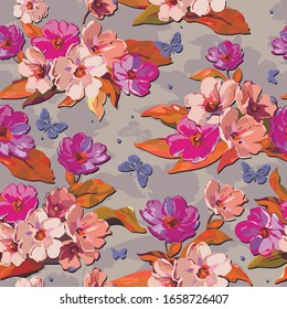 floral footage pattern for design, shawl, bandana, duvet cover, scarf