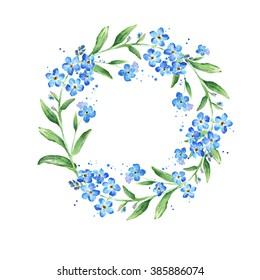 Floral Forget-me-not flower round frame, watercolor illustration, copy space