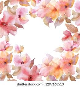 Floral frame. Floral greeting card. Wedding invitation card. Sacura flowers.