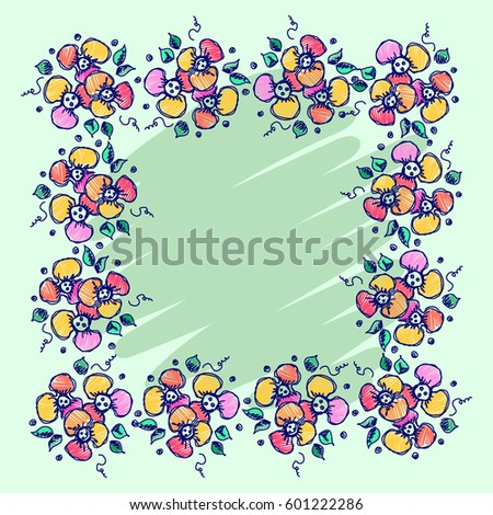Floral Frame Hand Drawn Roses Leaves Stock Illustration 601222286