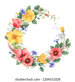 Floral frame with wild flowers. Hand drawn watercolor design element isolated on white background. Perfect for wedding invitations and greeting cards.