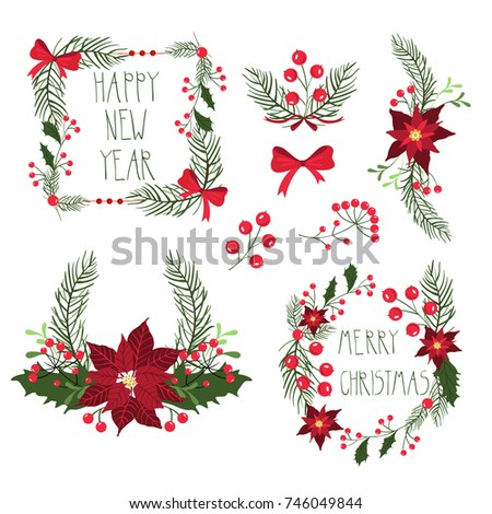 Floral Frames Christmas Holiday Cards Flowers Stock Illustration ...