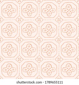 Floral and geometrical seamless pattern. Cute repeat background in pink and orange colors. Simple texture in hand-drawn style.