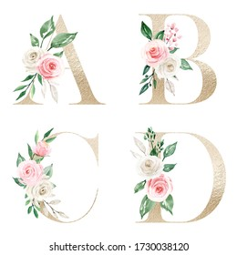 Floral gold alphabet, letters with watercolor flowers and leaves. Monogram perfectly for wedding invitation, greeting card, logo and other. Holiday design hand drawing.