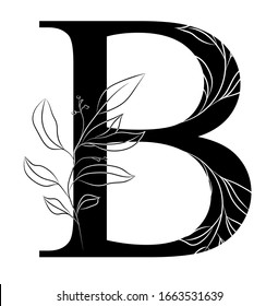 Floral graphic alphabet art. Combination of black letter B and line art branch to create delicate designs for weddings, logotype, greeting cards, mood boards, magazines