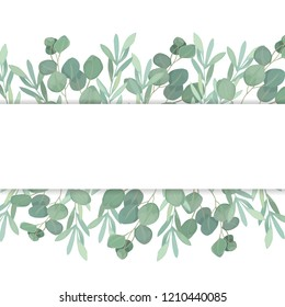 Floral greenery card template with eucalyptus branch. For wedding invitation, save the date, birthday, Easter.