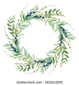 Floral greenery wreath is hand - drawn in watercolor on a white background for wedding decor.
