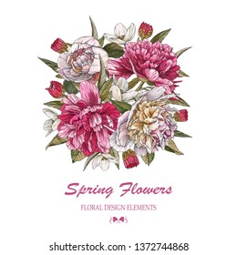 Floral greeting card. Bouquet of watercolor white and pink peonies. Illustration