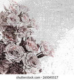 Floral grunge stained and striped grey  background with stylized roses