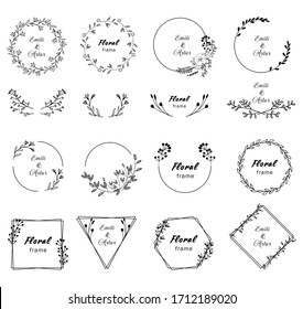 Floral hand draw black and white constructor. Floral elements for your design. Frames, dividers.