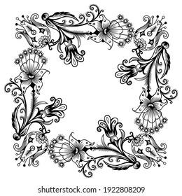 Floral hand drawn raster vintage border. Engraved nature elements and objects illustration. Frame design.